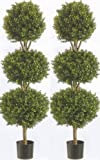 Silk Tree Warehouse Two 66 Inch Artificial Boxwood Triple Ball Topiary Trees Potted UV Rated 5 and a Half Foot Tall