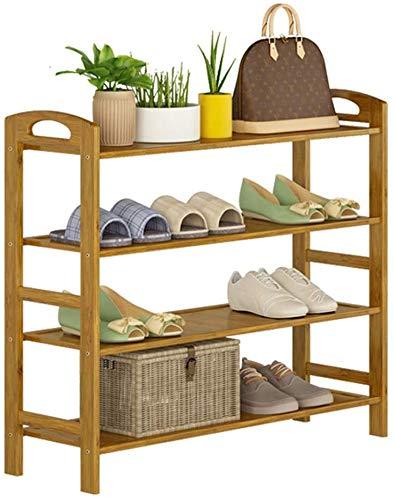 YLCJ schoenenrek, verticaal, voor schoenen, 4 niveaus, van natuurlijk bamboe, 16 paar schoenen, 80 x 26 x 68 cm (breedte x diepte x hoogte)