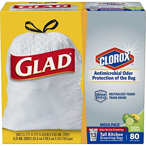 Glad Tall Kitchen Drawstring Trash Bags - Antimicrobial Protection 13 Gallon White Trash Bag, Scented - 80 Count