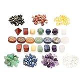 Jovivi Chakra Stones Sets - Healing Crystal w/Engraved Chakra Symbols Polished Stones,7 Chakra Tumbled Stones,7 Chakra Platonic Solids Sacred Geometry, 1 Box Tumbled Chips Crushed Pieces