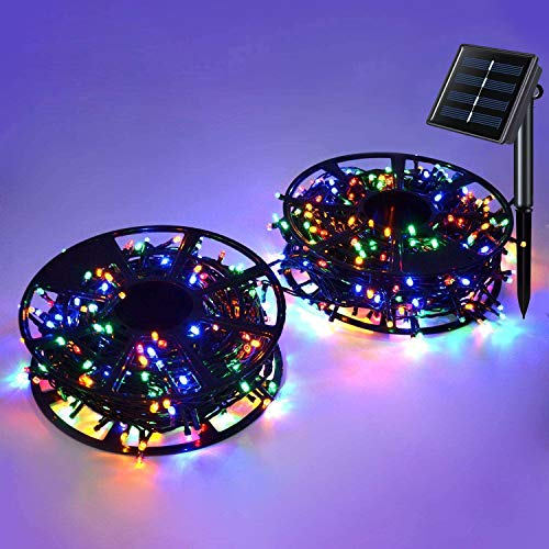 JMEXSUSS Solar String Light 600LED 206.7ft 8 Modes Solar Christmas Lights Waterproof Outdoor Fairy String Lights for Gardens, Wedding, Party, Christmas Tree,Xams,Outdoors (600LED, Multicolor)…