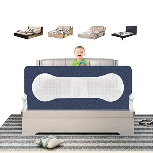 XJJUN Barrière De Lit Foldable Height Adjustable Bed Guard Plate Anti-Fall Children's Bedspread Barrière De Sécurité for Lit De Bébé Safety Big Bed Ventilation Net, 4 Colors