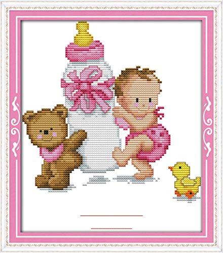 Kit de punto de cruz para adultos-DIY Cross Stitch estampado costura patrón de bordado Imágenes regalo-11CT Lienzo preimpreso- Certificado de nacimiento del bebé (polvo)