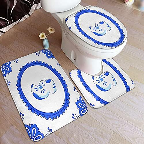 Juego de alfombrillas baño 3 piezas,Azulejo azul con un par de zapatos típicos ho,juego de alfombras, alfombra de baño antideslizante,alfombrilla de contorno,alfombras para cubrir la tapa del inodoro