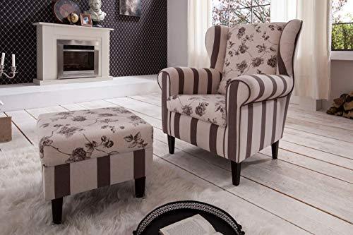 lifestyle4living Ohrensessel mit Hocker in beige im Landhausstil | Der perfekte Sessel für entspannte, Lange Fernseh- und Leseabende. Abschalten und genießen!