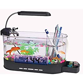 AN-LKYIQI Mini USB LCD Desktop Lamp Light Fish Tank Aquarium LED Clock Calendar With Filter And Water Pump, Fish Tank Ornaments.