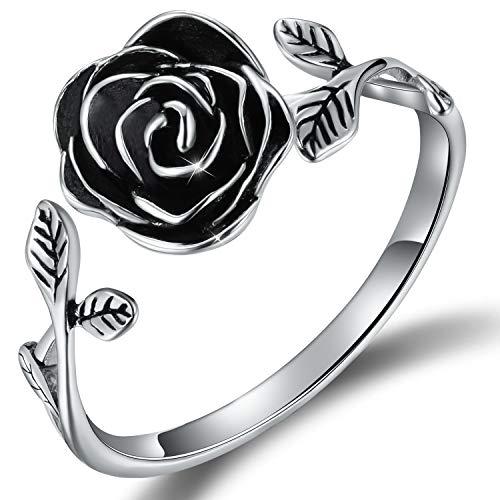 Esberry - Anillo de plata de ley S925 chapado en oro de 18 quilates, anillo abierto en forma de rosa, ajustable, para mujeres y niñas