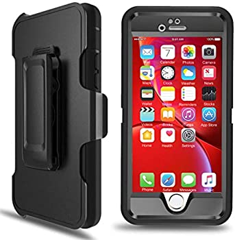 iPhone 6 Case iPhone 6s Defender Case with Belt Clip Kickstand Holster Heavy Duty Built-in Screen Protector Rugged Rubber Case Compatible with iPhone 6/6s 4.7   Black