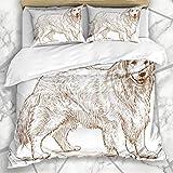 Soefipok Juego de funda de edredón para perros de raza, bosquejo de perro Golden Retriever Naturaleza canina amigo pelaje...