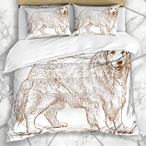 Bettbezug-Sets Rasse Hund Skizze Golden Retriever Natur Hunde Freund Pelzschutz Design Mikrofaser Bettwäsche mit 2 Kissen Shams Pflegeleicht Antiallergisch Weich Glatt