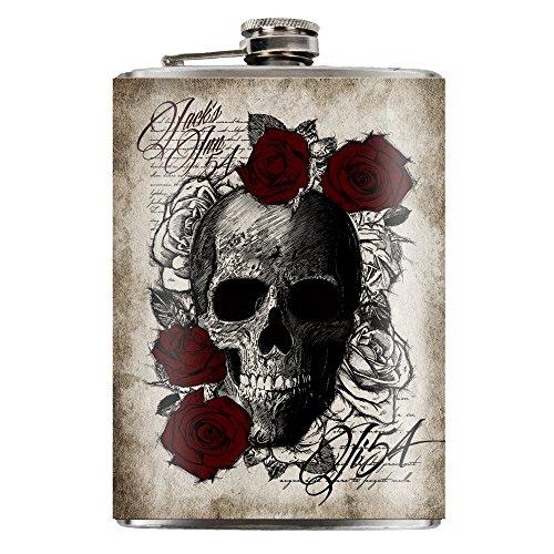Jack's Inn 54 Flachmann Skull 'n Roses Flask aus Edelstahl Fassungsvermögen 240ml