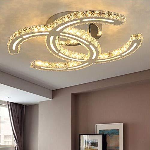 LED Deckenlampe Dimmbar Kreative K9 Kristall Deckenleuchte Restaurant Lampe Warm Romantische Deckenbeleuchtung, Schlafzimmerlampe Studielampe Mädchen Zimmer Lampe Doppel C Modellieren, L58cm 36w