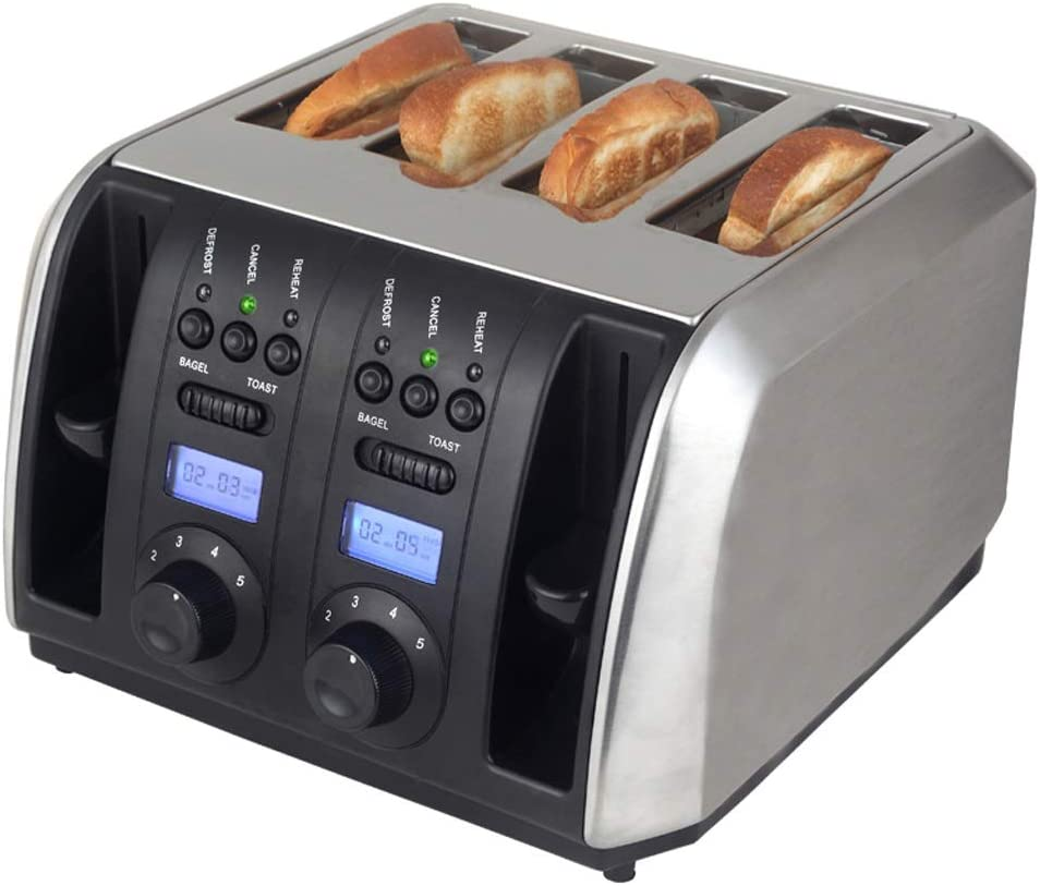 Toaster 4 Slice, Extra Wide Slot Toaster, Home Bagel Toaster With Defrost/Reheat/Cancel Function, 5 Adjustable Toast Settings, For Bread Waffles, Stainless Steel (Color : Black, Size : 110v)