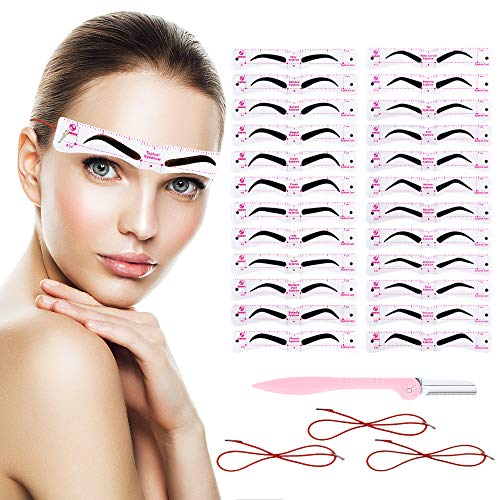 Eyebrow Stencils - Reusable Eyebrow Template, 24 Fashionable Styles Eyebrow Shaper Kit for A Variety of Face,2 Minutes Makeup