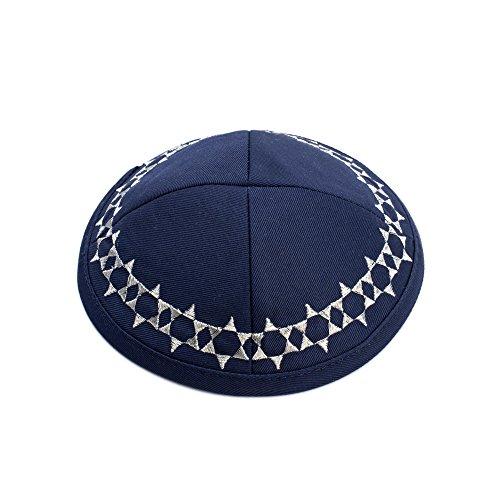 JL Kippha's Cotton Marineblau Embroided Davidstern Kippah Yarmulke jüdischen Yamaka Kippa Cap Judaica