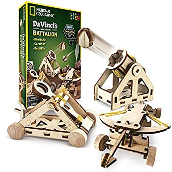 NATIONAL GEOGRAPHIC Construction Model Kit – Build 3 Wooden 3D Puzzle Models Learn about Da Vinci's Improved Designs Craft Kits are a Perfect Gift for Girls and Boys an AMAZON EXCLUSIVE Science Kit