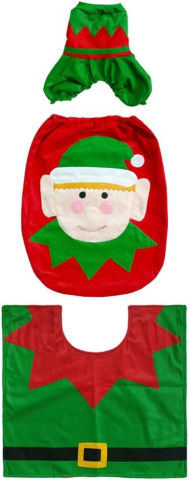BESPORTBLE 3 Pcs Christmas Toilet Great interest Set SoftToilet Mat Seat Ranking TOP8 Cover
