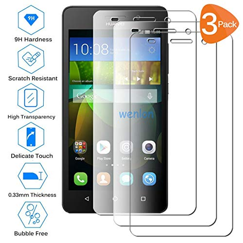 Wenlon [3 Pezzi Film in Vetro temperato per Huawei G Play Mini, Schermo HD 9H di durezza, Pellicola Protettiva per Cellulare, Resistente ai Graffi