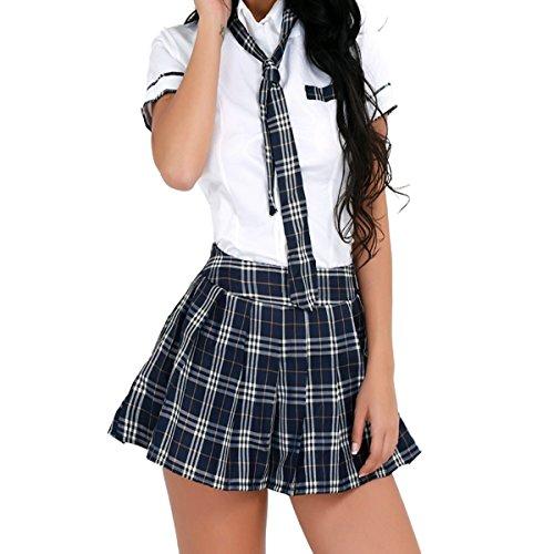 Freebily Damen Reizwäsche Schulmädchen Kostüm Plaid Uniform Mit Krawatte Dessous Set Karneval Fasching Cosplay Kostüm Weiß & Marineblau XL