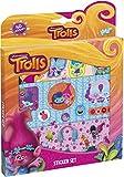 Trolls Sticker-Set – großes Aufkleber-Set, bestehend aus drei Bögen mit 40 Trolls-Motiven und Glitzer