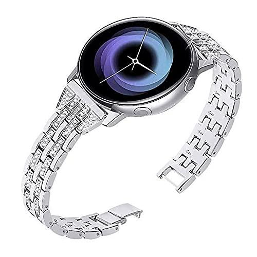HGNZMD Correas De Repuesto Compatible con Galaxy Watch 42 / 46MM, Pulsera De Acero Inoxidable Banda De Metal Band De Diamantes De Imitación Joyas Compatible con Galaxy Watch 42 / 46MM,Silver 22mm