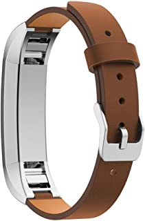 Alonea Leather Band Strap Bracelet + Protector Film For Fitbit Alta HR Smart Watch (Brown)