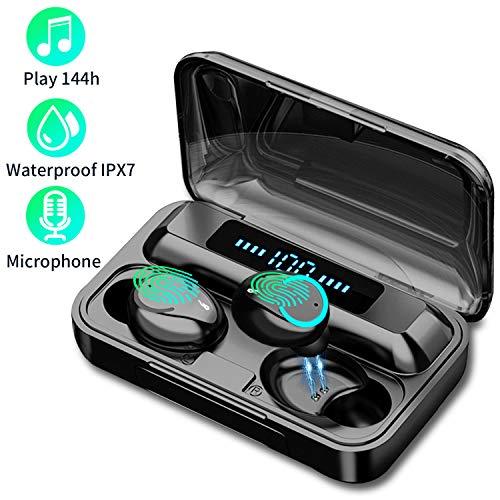Cuffie Bluetooth Sport Offerte,Cuffie Bluetooth 5 Senza Fili con Custodia di Ricarica 1200mAH,Cuffie Wireless Sport in Ear con Display LED Touch Control,IPX7 Impermeabile Auricolari Bluetooth
