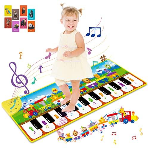 RenFox Tapis Musical Enfant, Tapis de Piano Tapis de Danse avec 10 Touches, 8 Bruits d