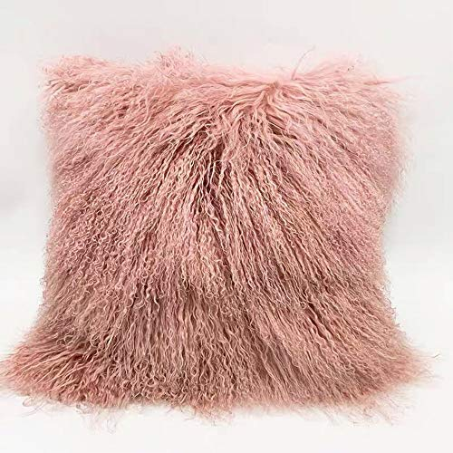 Funda de almohada de piel de oveja de piel de oveja mongol 100% tibetana, de color rosa