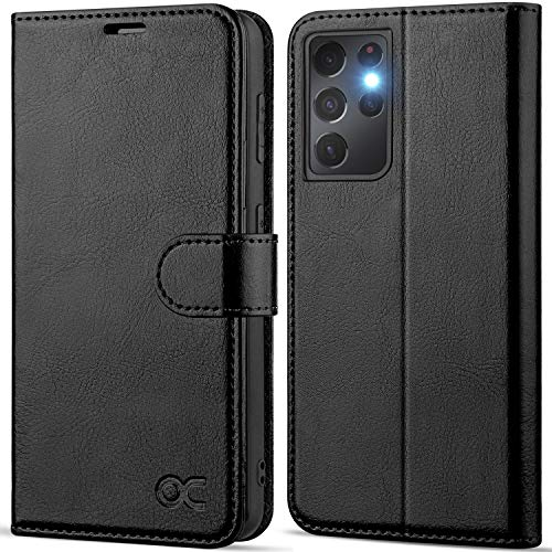 OCASE Compatible with Galaxy S21 Ultra 5G Wallet Case, PU Leather Flip Folio Case with Card Holders RFID Blocking Kickstand [Shockproof TPU Inner Shell] Phone Cover 6.8 Inch (2021) - Black