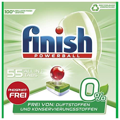 Finish 0 Prozent All in 1 Spülmaschinentabs, phosphatfrei – Geschirrspültabs gegen hartnäckigste Fettanschmutzungen – Recyclebar – Großpackung mit 55 Finish Tabs, 1er Pack (1 x 55 Tabs)