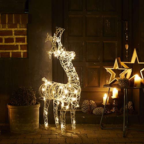 Alice 's Garden reno luminoso color blanco alto de 90cm, 50LEDs blanco cálido–reno Rudolf