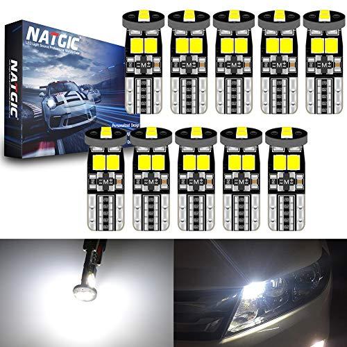 NATGIC T10 W5W 921 168 Ampoules LED CanBus sans Erreur 6SMD 3030 Puce pour éclairage Intérieur de Voiture Lumière de Plaque d'immatriculation Ampoules de Carte - Blanc 6000K 450LM 12V (Pack de 10)