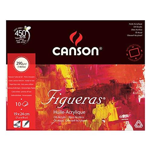 Papel Canson Figueras. Bloc de acuarela encolado a 4 lados. Formato 19x24 cm. Gramaje 290 gr.