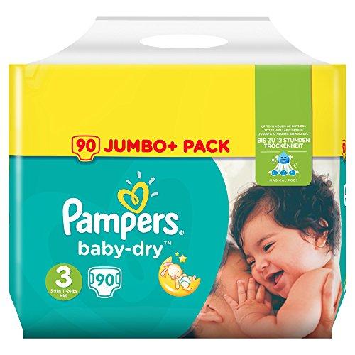 Pampers Baby Dry Pack de 90 Couches Taille 3+ pour Bébé de 5-9 kg
