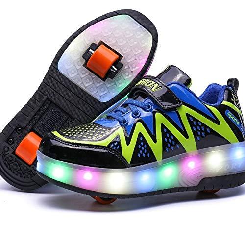 SHUNLI Zapatos De LED Se Encienden Individual Doble Ruedas del Patín De Ruedas Zapatilla De Deporte For Las Muchachas De Los Niños (Color : Black-Double Wheel, Size : 38)