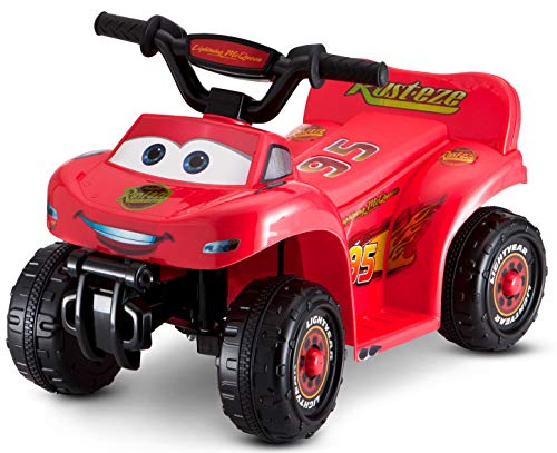 Kid Trax Toddler Disney Cars Quad Ride On Toy, Kids 1.5-3 Years Old, 6 Volt Battery and Charger Included, Max Weight 45 lbs, Lightning McQueen Red