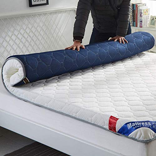 YWYW Futon Matratze Flanell Faltbare Matratze Verdicken Matratze Topper Tragbare Isomatte Studentenwohnheim Japanische Bodenmatratze-a-weiß Blau 180x200cm (71x79inch)