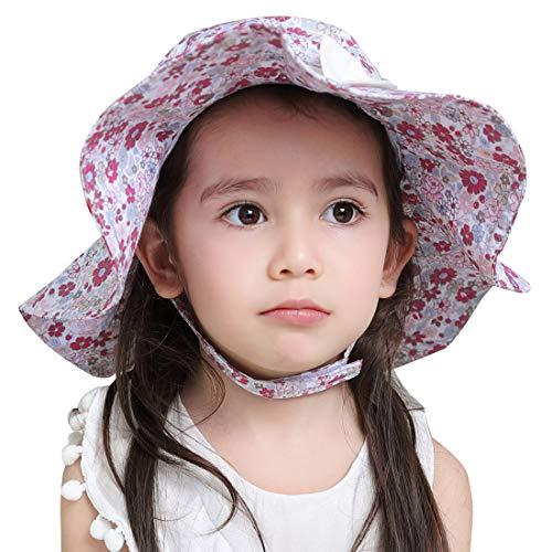 FEOYA Chapeau de Bébé Fleurs Imprimée Fille Printemps été Bonnet de Soleil en Coton Protection sous Le Soleil Minion pour Petite Fille Blanc 48cm 1-2 Ans