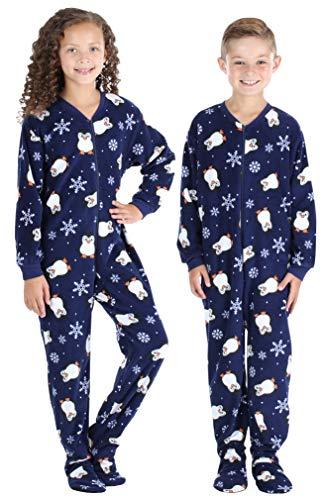 SleepytimePJs Baby, Toddler, and Kids ' Fleece Footed Onesie Pajamas, Kids - Navy Blue Penguins, 6