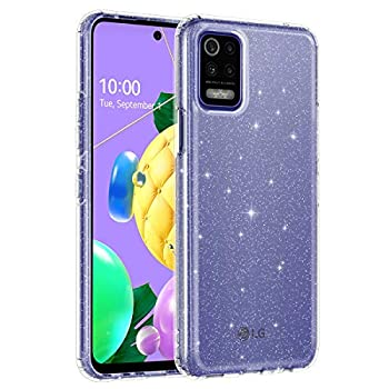 Lamcase Compatible with LG K52 / LG K62 Case  Not Fit 5G  Crystal Clear Bling Sparkly Glitter Shiny Soft Flexible TPU Slim Fit Drop Protection Rugged Shockproof Cover for LG K52/LG K62 Clear Glitter