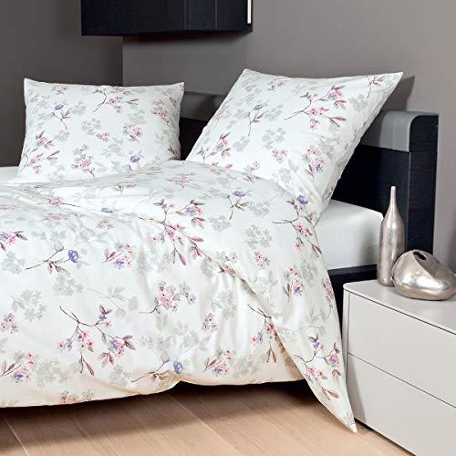 Janine Design Feinbiber Bettwäsche Davos 65052-05 Beere Flieder Silber 1 Bettbezug 155 x 220 cm + 1 Kissenbezug 80 x 80 cm