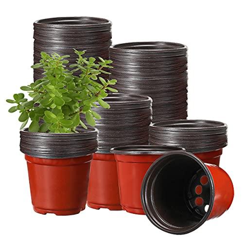 Vasi per Piante, Tvird 130 Vasi di Plastica per Piante, Vasi in Plastica per Piante, Fiori e per la Semina, di 10cm di Diametro, Perfetti per Il Giardinaggio Rosso mattone 130 pezzi 10 cm