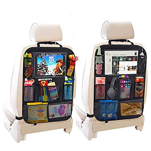 Queta Auto Rückenlehnenschutz, 2 Stück Auto Aufbewahrungstasche Auto Rücksitz Organizer für Kinder, Taschen und iPad-/Tablet-Fach, Wasserdicht Autositzschoner, Kick Matten Schutz für Autositz