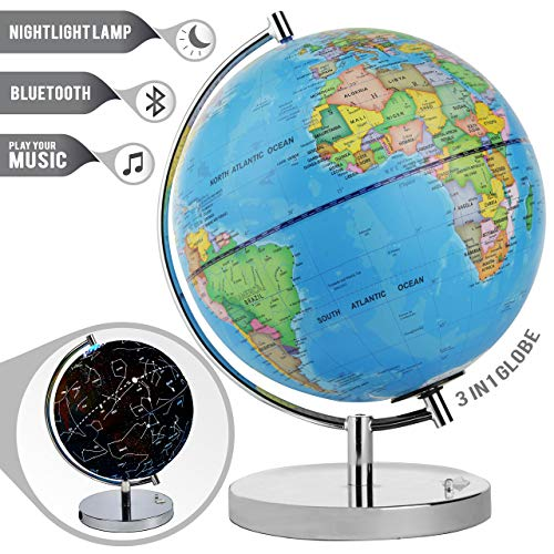 LED Light Up Globe with Bluetooth Speaker, Chrome Base and Detailed World Map - Constellations Glow at Night - Projects Star Lights on Ceiling as Nightlight - 12.5 x 9� - by ToyThrill