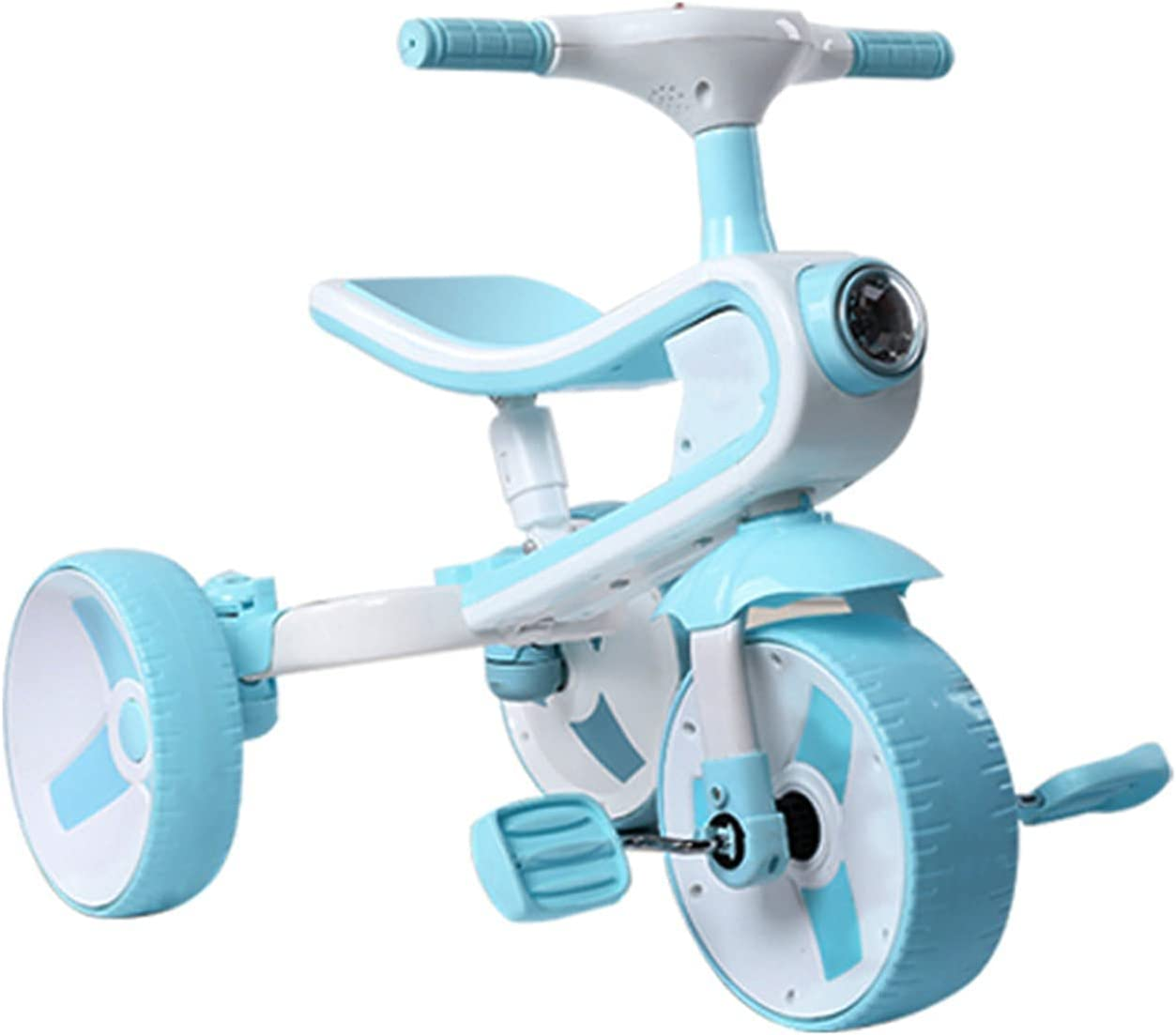 Bicicleta de balance de bebé, triciclo de música de dos en uno, juguetes para niños al aire libre, scooter para niños portátil, ángulo de rotación de límite de 135 °, regalos y niños de 1 año de edad.