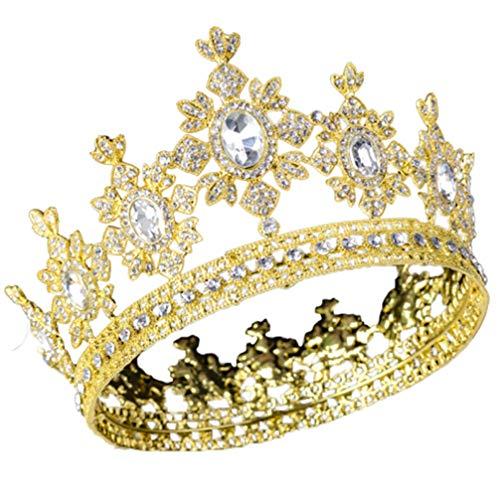 FRCOLOR Corona Barroca Reina Corona Redonda Completa Cuentas de Diamantes de Imitación...
