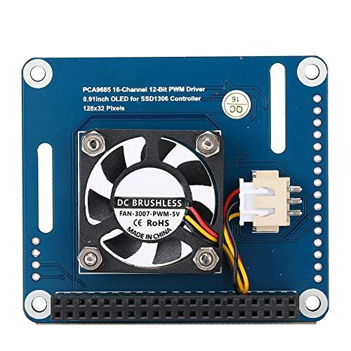 Módulo de ventilador de refrigeración Raspberry Pi, módulo de ventilador de refrigeración de placa de expansión DC 5 V con pantalla OLED para Raspberry Pi 4B, repgulación de temperatura inteligente PW