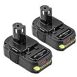 Topbatt 2X 18V 2.5Ah para Ryobi Batería de Repuesto Lítio-Ion ONE+ P108 RB18L25 RB18L13 RB18L50...