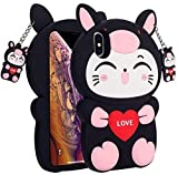 Galaxy A20 / A30 Pig Cat Phone Case,3D Cartoon Animal Character Design Cute Soft Silicone Kawaii Cover,Cool Cases for Kids Boys Girls (Black,for Samsung A20 / A30)